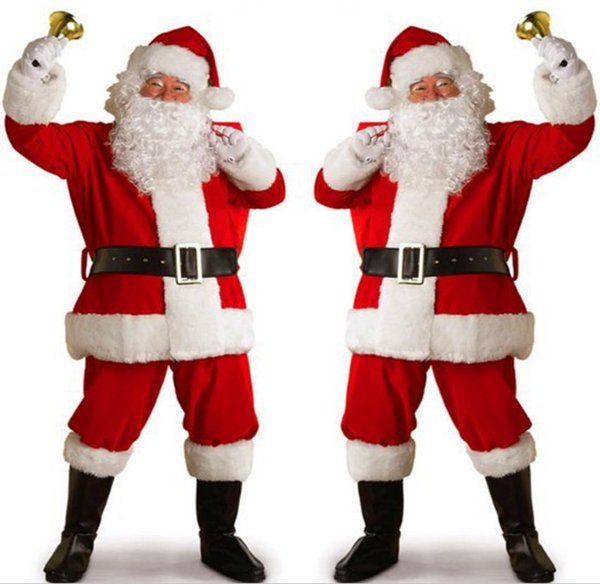 New adult Santa suit men red and white stitching gold velvet festival show dress up female costumes free shipping