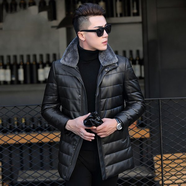 Men's Down Jacket Winter Genuine Leather Jacket Men Sheepskin Leather Warm Down Coat Real Sheep Fur Collar Jackets 17S755 YY374