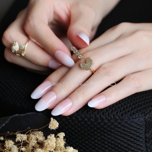 Long Oval French Gradient Almond Natural Link Pink Nails Nude Fake Nails Red Black Oval False Ballerina Decoration Fake Nails Design False Toe Nails