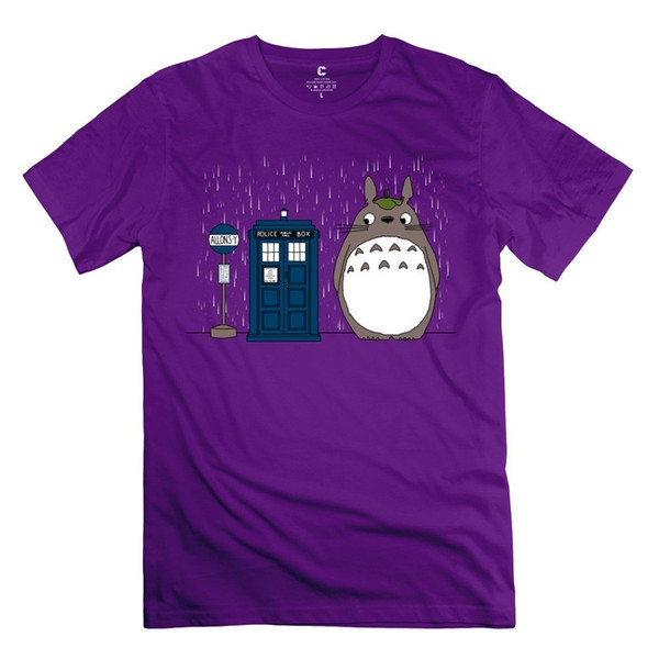 Frb Men'S Doctor Who Telephone Boxer Neighbor Totoro T Shirt Purple Short Sleeve T Shirt Cotton Shirts Top Tee Short Sleeve