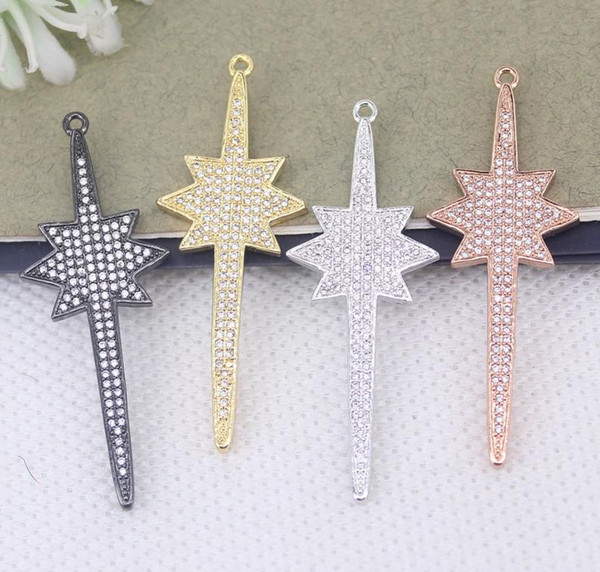 5pcs 4 color Metal Copper Micro Pave Star Pendant Beads,CZ Star pendant beads For Jewelry Necklace Making