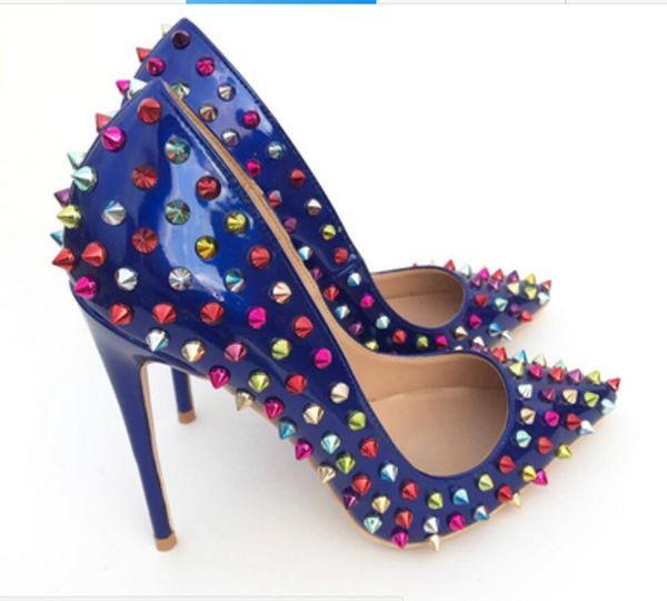 19 Royal Blue Patent leather rivet Fine heel Cusp Heel height:10cm 8cm 12cm Big code 34-44 women's red bottom high-heeled shoes Single shoes