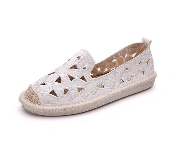 2019 Popular women's shoes summer new linen straw fisherma embroidered shoes female Korean version of single shoes women
