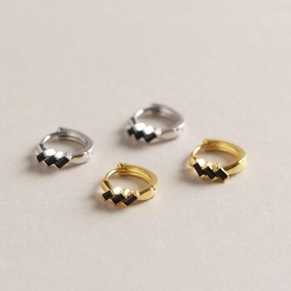 Vente chaude 925 Sterling Silver Gold Couleur Petit Cercle Cerceau Boucles D'oreilles Pour Les Femmes Anniversaire Simple Noble Bijoux Cadeau