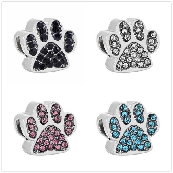 Perros de impresión de la pata del perro en forma de los encantos de las mujeres de la aleación CZ pulsera original del brazalete DIY Crystal Bear Claw Beads joyería hecha a mano accesorios