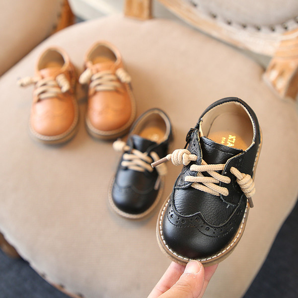 Autumn Spring Kids Wedding Shoes Genuine Leather Anti Slip School Boys Shoes Korean Version Of The British Style 1-8 Years Old Y19051602