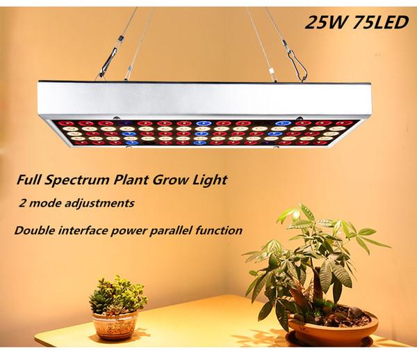 Versione aggiornata 25W 75LED idroponico coltiva la pianta chiara coltiva la lampada RedBlue 2 modalità possibile collegare più
