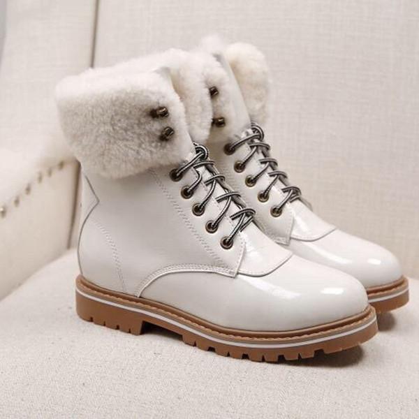 generous martin boots for women fashion flat motorcycle boots warm wedge heel winter boots waterproof fashion wild