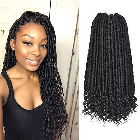 best selling Goddess Faux Locs Crochet Hair Extension with Curly Ends Bohemian Locs Starter Locs Dreadlocks Pre-Looped Synthetic Braiding Hair