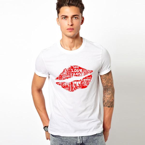 Seks Büyük kırmızı dudaklar T-Shirt Kişilik Gerçek Kan t gömlek Komik Kısa Kollu güzel dudak erkekler Tişörtleri 2019 Yeni Moda Yaz