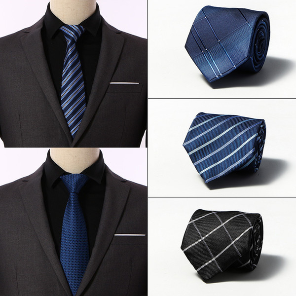 8 CM de ancho corbatas de seda para hombres Gravatas Striped Solid 2019 Nuevos hombres Corbatas Negocio Negro Traje de boda Corbata Corbata Rojo Blanco Azul