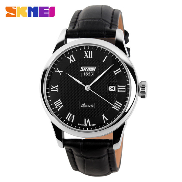 SKMEI Genuine Leather Strap Men Fashion Clock Mens Casual Quartz Watches Reloj Para Hombre Military Army Waterproof Wrist Watch