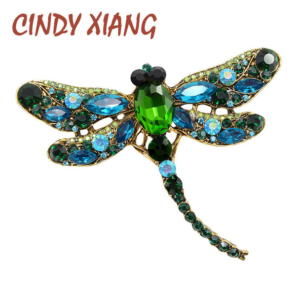Cindy Xiang Crystal Vintage Dragonfly Brooches For Women Large Insect Brooch Pin Fashion Dress Coat Accessories Cute Jewelry T190622