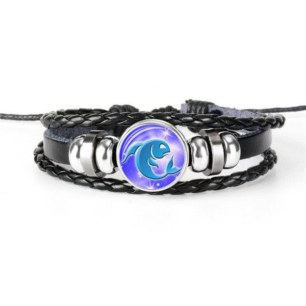 New Handmade Luminous 12 Constellation Zodiac Pisces Rope Beaded Leather Multilayer Bracelets Time Gem Glass Dome Jewelry Gift for Woman Men
