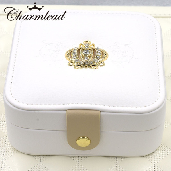 wholesale Royal Crown Carrying Jewelry Box Cosmetics Case with Mirror Leather Gift Box for Ring Earring Bracelet Pendant Jewelry