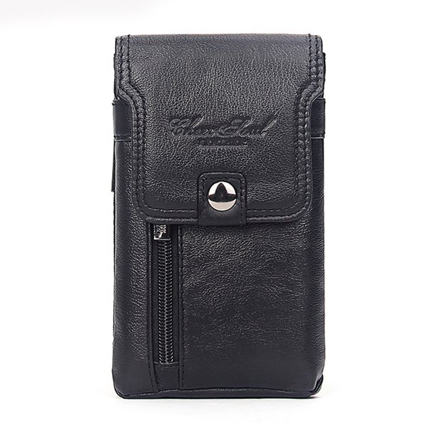 Real Cowhide Men Cell Phone Case Waist Bag Cigarette Purse Cover Skin Hook Bum Casual Genuine Leather Belt Hip Fanny Pack