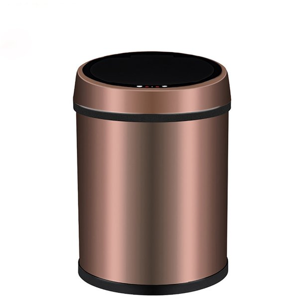 Small Automatic Trash Can Touchless Intelligent Induction Garbage Bin With Inner Bucket Contactless Circulator Quiet Lid Close Can Gold