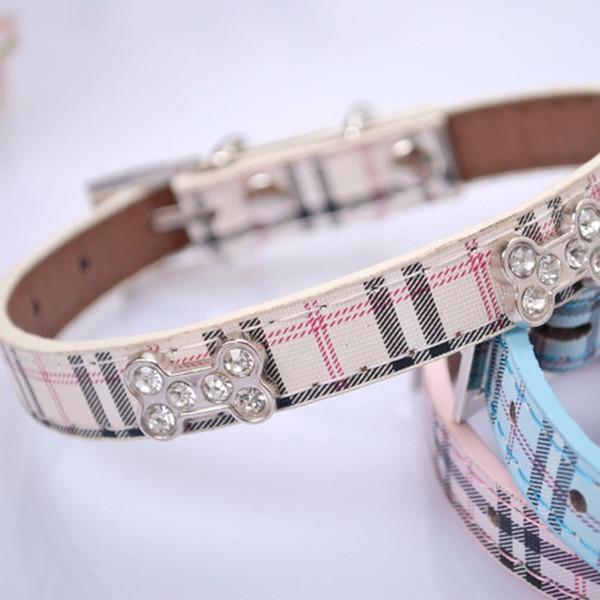 Blue Plaid Pet Collar PU Leather Rhinestone Bones Pet Collar Dog Collar Pet Supplies Three Colors Three Sizes Choice