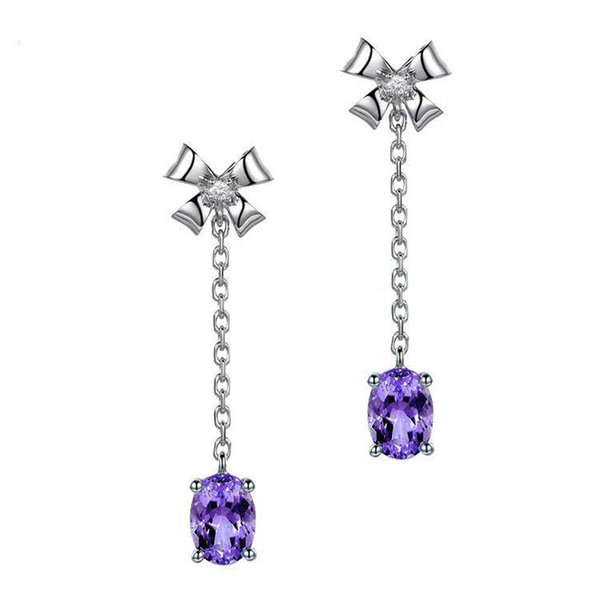 Shining Fashion Crystals Earrings Silver Rhinestones Long Drop Earring For Women Bridal Jewelry 4 Colors Wedding Gift For Friend
