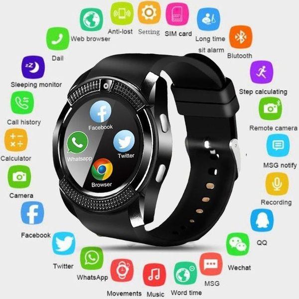 V8 smart watch bluetooth tela sensível ao toque de smartphones à prova d 'água do esporte dos homens das mulheres smartwatched com câmera sim card pk dz09 gt08 a1