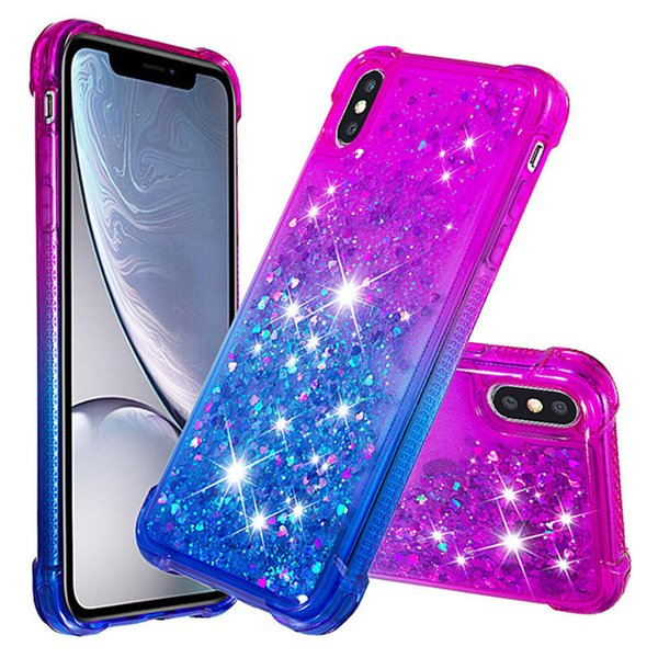 Liquid Gradient Glitter Case For iPhone X XR Xs Max 7 8 Plus Shockproof Diamond Bling Heavy Duty Soft TPU Cases Cover