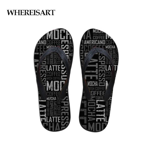 WHEREISART Casual Flip Flops Men Black Summer 3D Letter House Slipper Anti-slip Platform Flipflop for Man Men's Beach Sandals