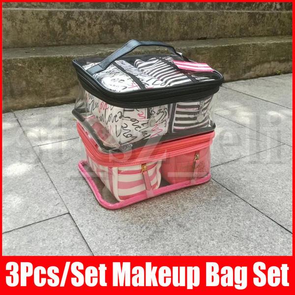 3 en 1 Maquillage PVC transparent étanche Sac femmes Organisateur Voyage Pouch Sacs cosmétiques Set Kits Secrect Make Up Wash Sac de toilette