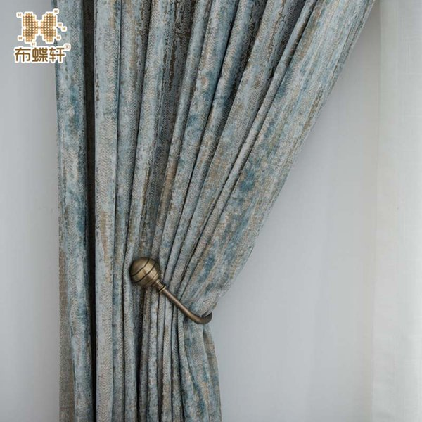 2019 New Arrival Glacier Texture Spearmint Double-Side Thick Jacquard Chenille Curtains for Living Room Bedroom Customized