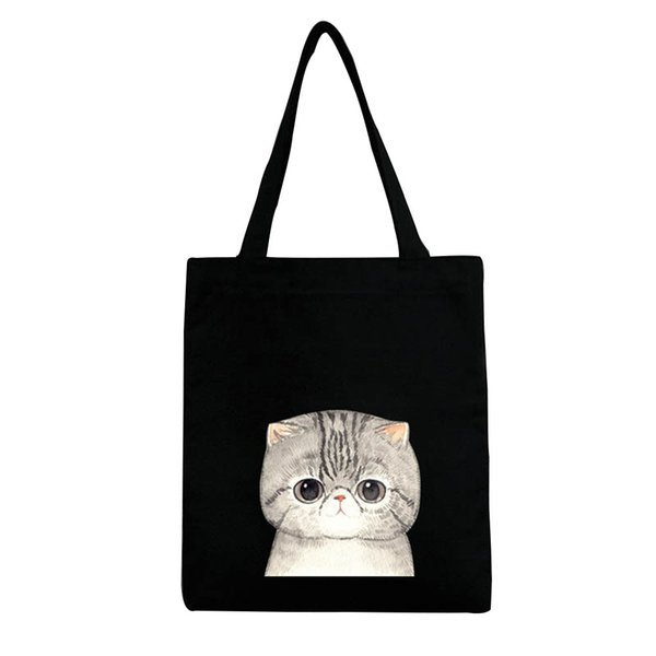 3d Printing Cartoon Cute Cat Printed Canvas Casual Totes Bag Large Capacity Hand Bag With Zipper Closure Safe Interior Pocket