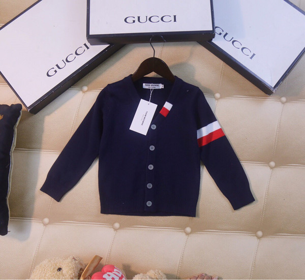 Boy sweater children designer clothing 2019 new simple solid color cardigan sweater fashion foreign boy jacket