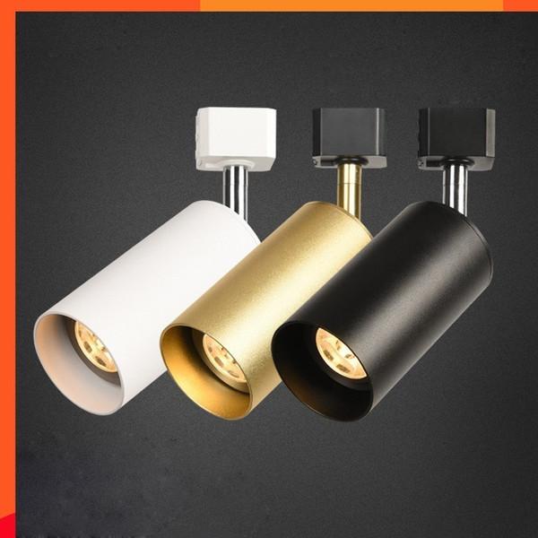 10pcs dimmerabile 7w 10w 12w illuminazione a binario a led in alluminio AC85-265v binario a soffitto binario illuminazione a binario oro bianco nero alloggiamento faretto