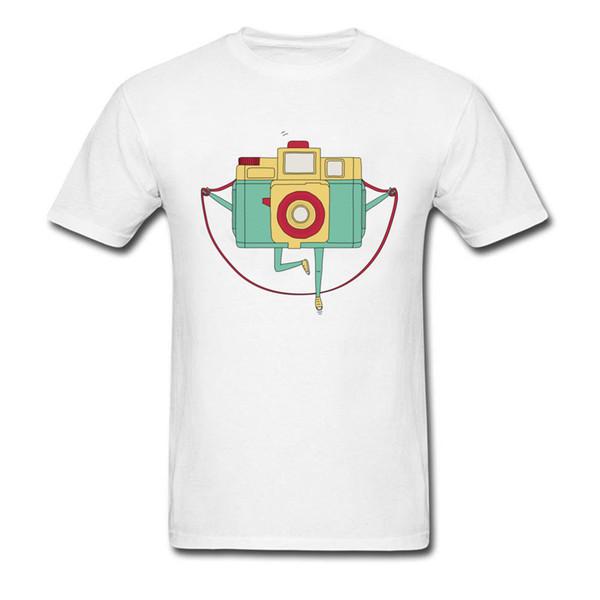 123 Klicken Sie auf 2018 Trendy Cartoon T-Shirt Seilspringen Kamera Print Herren Baumwollweiß T-Shirts Cute Funny Holiday Tees