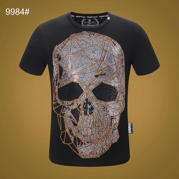2019 New Fashion Summer 3d Skull Printed Phillip Plain T Shirt Man Hip Hop O Neck Short Sleeved T-shirt Men PP Diamond Shirt Top 04