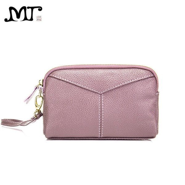 MJ Women Clutches Soft Split Cow Leather Day Clutch Wristlet Phone Bag Ladies Small Hand Bag Zipper Wallet High Capacity #675225