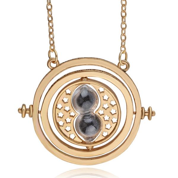 12 pçs / lote relógio de areia preto colar de prata azul ampulheta Turner Hermione Harri Vintage Potter pingente em massa atacado J190530