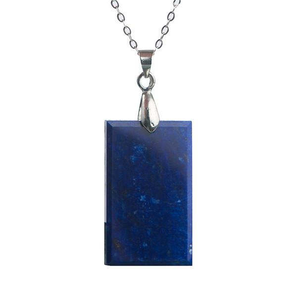 Fashion Blue Jewelry Pendant Natural Stone Lapis Lazuli Gems Crystal Rectangle Beads Charm Pendant Women Men Necklace