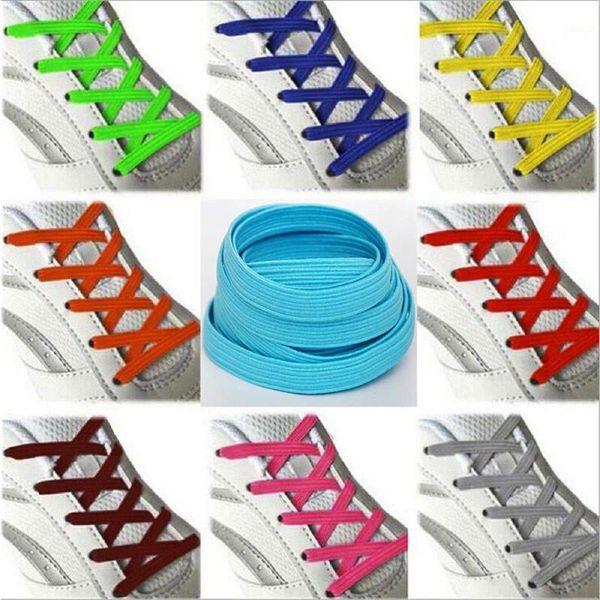 1 Pair High Quality Elastic Stretching Locking No Tie Lazy Shoelaces Unisex Flat Shoe lace Kids elastic Rubber shoelace 100 cm