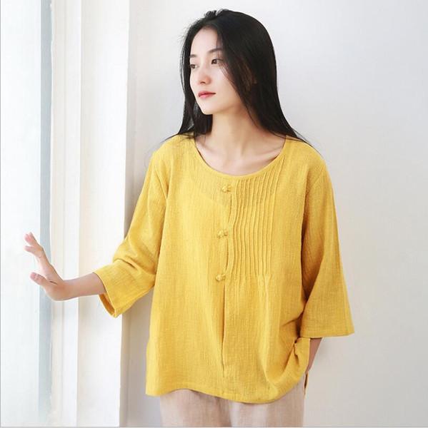 7 Renk M-L kadın Bayanlar Yaz Casual Uzun Kollu Baggy Pamuk Tee Katı-Gömlek Bluz Tops