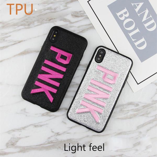 Para iPhone X XS MAX XR Teléfono celular Love Pink Letter Case Diseñador de la marca Glitter Bordado 3D Bling CUBRE CASOS Para iPhone X 8 7 6 plus