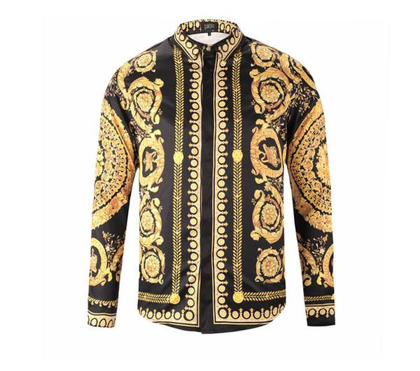 Новые мужские классические рубашки Fashion Harajuku Повседневная рубашка для мужчин Medusa Черное золото Необычные 3D печати Slim Fit Рубашки