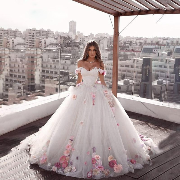2020 Beautiful Off The Shoulder Princess Long Weeding Dresses Engagement  Dresses A Line Hand Made Flowers Tulle Brides Dresses Plus Size Wedding