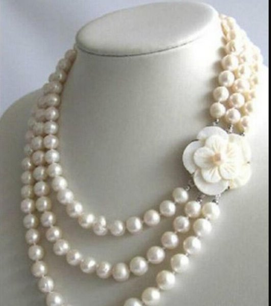 collar Envío libre ++++ 907 3Row 7-8mm Collar de perlas de agua dulce blanco Shell corchete Natural