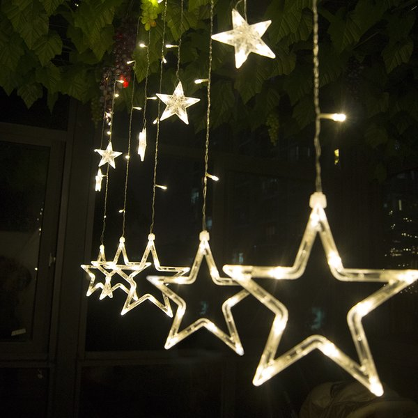 Micro Christmas Lights.Led Curtain String Light 2 5m 138leds Romantic Fairy Star Led Christmas Lights White Warm White Blue String Lights Led Micro String Lights From