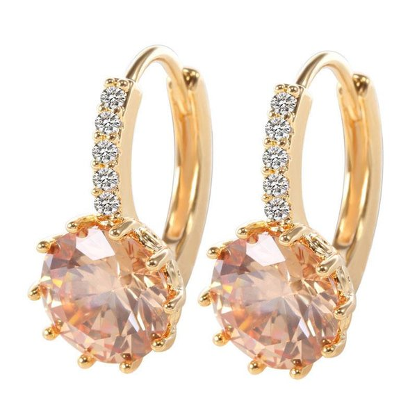 Wholesale- SHUANGR Wholesale 1pair Gold Color Earrings Orange Shiny Cubic Zirconia Womens Jewelry Hoop Earrings
