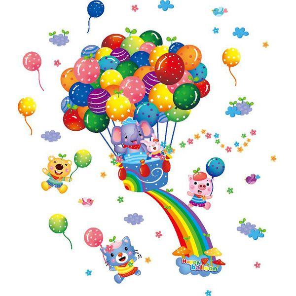 Colorful 3D Cartoon Animal Balloon Wall Sticker For Kids Rooms Poster Home Decor PVC Flowers Art Mural Children Gift Wallpaper