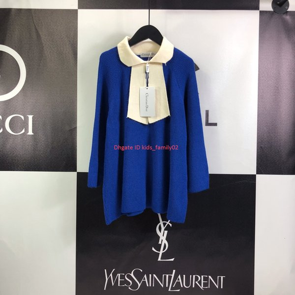 As meninas se vestem crianças roupas de grife moda elegante outono A-line túnica design de malha de algodão vestidos de costura de contraste