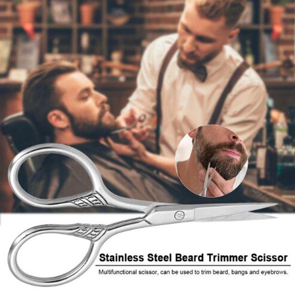 Tijeras de corte de barba de acero inoxidable de tamaño pequeño Cizalla de corte de barba de corte de ceja Tijera de corte de ceja para uso doméstico