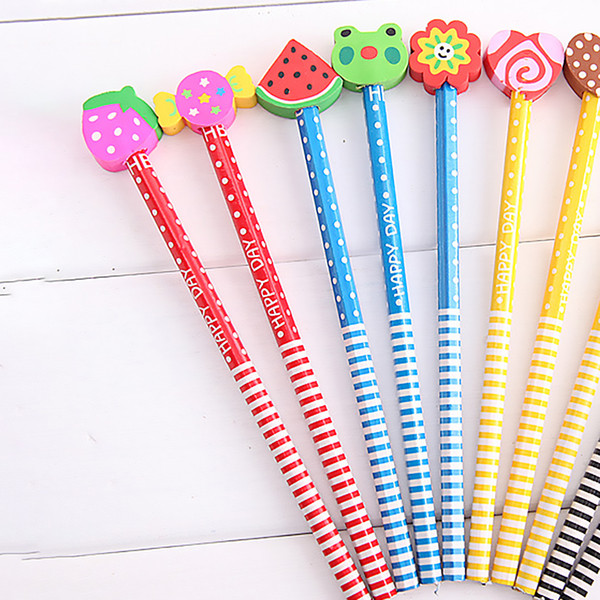Cartoon Fruit Erasers Colorful Wooden Child Kids Students Pencils Stationery Color Random