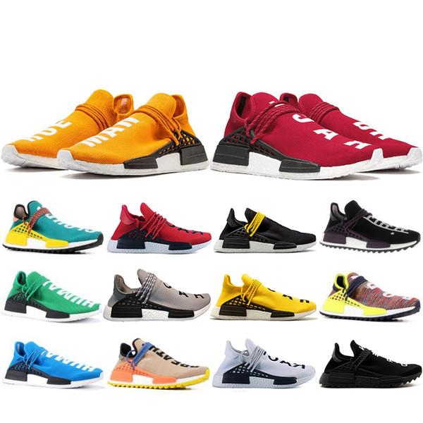 Cheaper New Human Race Hu trail pharrell williams Running shoes Men Nerd black cream mens trainer women designer sports sneakers US 5-12