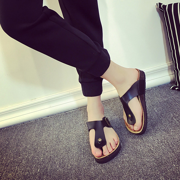 best selling Size 35-44 Solid women's clogs with buckle men's clog soft wood heel shoes couple slippers colourful flip flops z150